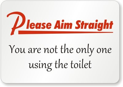 urinate straight sign