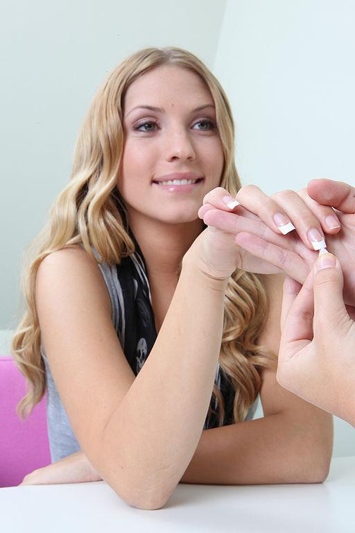girl repairing her nails