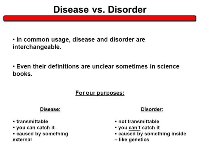DIFFERENCE BETWEEN DISEASE AND DISORDER